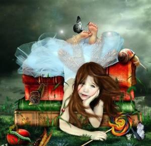 menina livros e borboleta